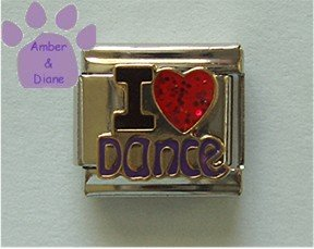 I Love Dance Italian Charm with red glitter enamel heart