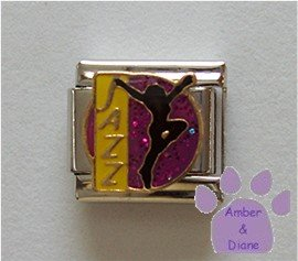 JAZZ Dancer Italian Charm Silhouette on Purple Glitter
