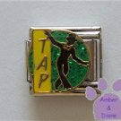 TAP Dancer Italian Charm Silhouette on Green Glitter