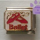 Ballet Italian Charm on white enamel with pink Ballet Slippers