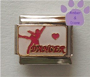 Dancer Italian Charm on white enamel with pink Heart & Dancer