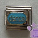 dance Italian Charm gold tone on blue enamel oval disc
