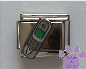 Cell Phone Italian Charm silver-gray with green screen