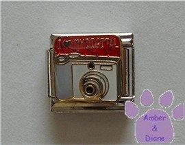 I love (red heart) MY DIGITAL Italian Charm Camera red glitter