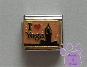 I Love Yoga Italian Charm Woman in Yoga Position red heart