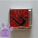 PILATES Italian Charm Exercising Silhouette on red Glitter