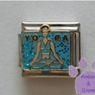 YOGA Italian Charm Woman in Yoga Position on blue Glitter