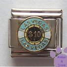Ten Dollar Vegas Gambling Chip Italian Charm
