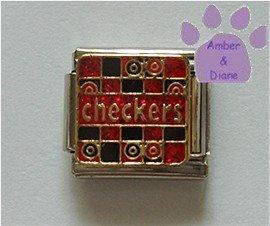 checkers on a Game Board Italian Charm red & black checker board