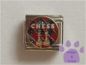 Chess Board Italian Charm with King and Queen