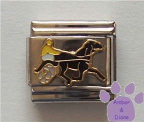 Harness Horse Racer Italian Charm - Trotter or Pacer