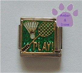 PLAY Badminton Racket and Birdie Italian Charm on green glitter