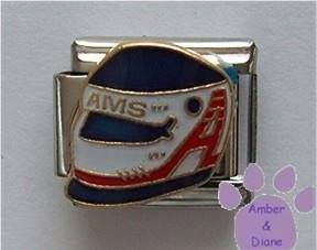 Racing Helmet Italian Charm - AMS in Red, White and Blue