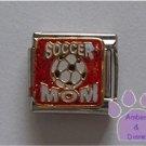 SOCCER MOM Italian Charm on red glitter