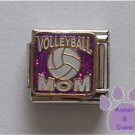 VOLLEYBALL MOM Italian Charm on purple glitter