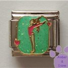 Gymnast Italian Charm for Gymnastics or Acrobatics, with hearts