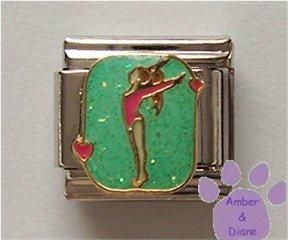 Gymnast Italian Charm for Gymnastics or Acrobatics, with hearts