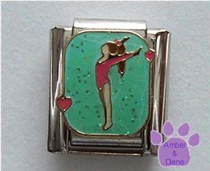 Gymnast vertical Italian Charm for Gymnastics or Acrobatics