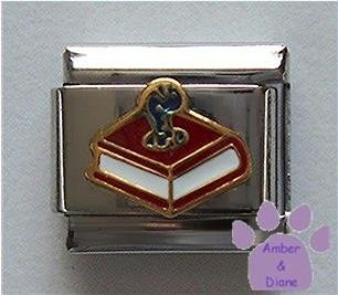 Book with Bookworm Italian Charm for Librarian or Teacher