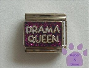 Drama Queen Italian Charm on purple glitter background