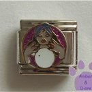 Fortune Teller with Crystal Ball Italian Charm on violet glitter