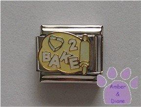 Love to Bake Italian Charm cookie cutter heart on dough