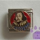 William Shakespeare Italian Charm on a red glitter disc
