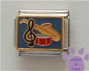Musical Instruments Italian Charm SAX, DRUM, and TREBLE CLEF