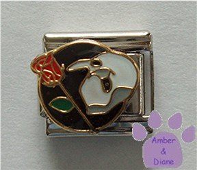 Phantom of the Opera Italian Charm with Mask and Red Rose