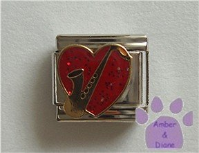 Saxophone on a Large Red Glitter Heart Italian Charm