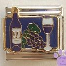 Wine Bottle and Stemmed Wine Glass Italian Charm deep blue back
