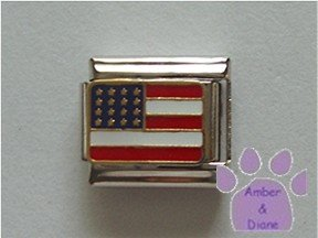 American Flag Italian Charm United States of America in goldtone