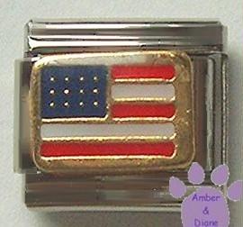 American Flag Italian Charm United States of America, goldtone