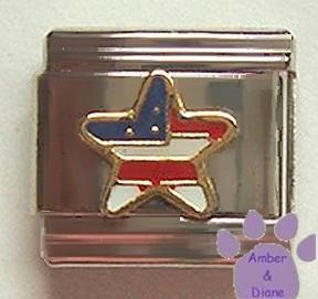 American US Star Flag Italian Charm