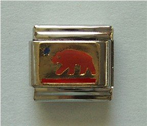 Grizzly Bear Italian Charm gold tone background symbol for Texas