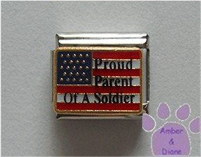 Proud Parent Of A Soldier Italian Charm on American Flag