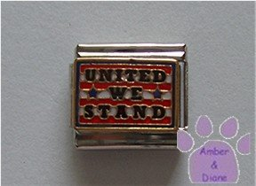 UNITED WE STAND Italian Charm on red, white and blue