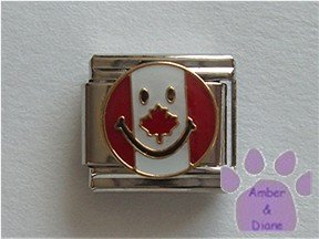Canadian Smiley Face Flag Italian Charm with a maple leaf nose