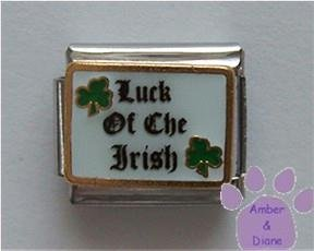 Luck of The Irish Italian Charm with two Lucky Green Shamrocks