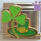 Lucky Irish Shamrock and Leprechaun Hat Italian Charm