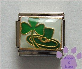 Lucky Irish Shamrock and Leprechaun Hat Italian Charm on white
