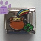 Pot of Gold at the End of the Rainbow Italian Charm Shamrock
