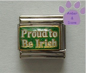 Proud to Be Irish Italian Charm on a Green glitter background