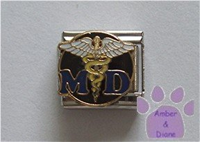 MD Italian Charm with a detailed Caduceus