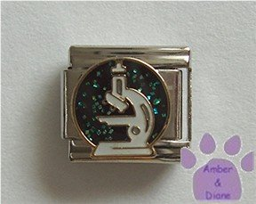 Microscope Italian Charm on black glitter