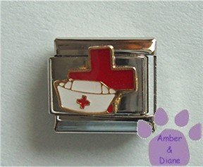 Nurse Cap Italian Charm in front of a large Red Cross