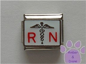 RN in Red with a Caduceus Italian Charm on white