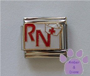 RN in Red with a White Nurse Cap Italian Charm on white