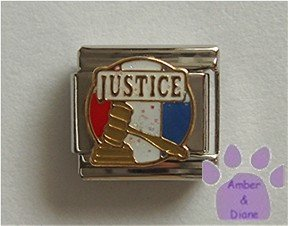 American JUSTICE Italian Charm gavel on red white and blue