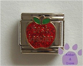 Best teacher on a Large Red Glitter Apple Italian Charm